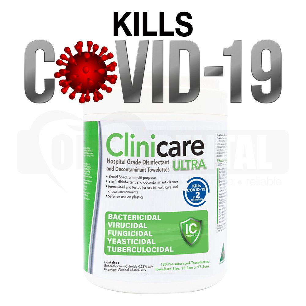 Clinicare HGD ULTRA (180) Thick Towelette (45gsm) Canister Kills COVID-19 in 2mi