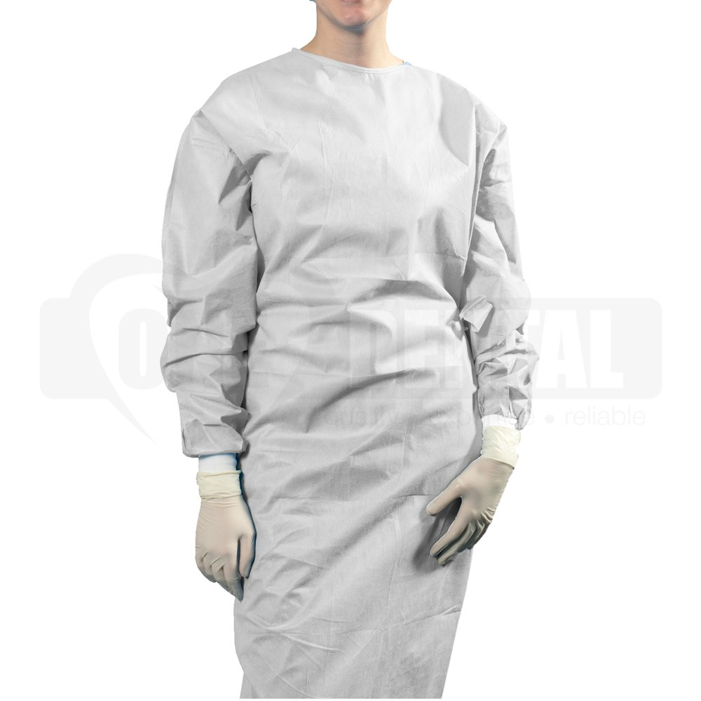 Long Sleeve Disposable White Gown AAMI Level 1 OSFA(size) PKT 50