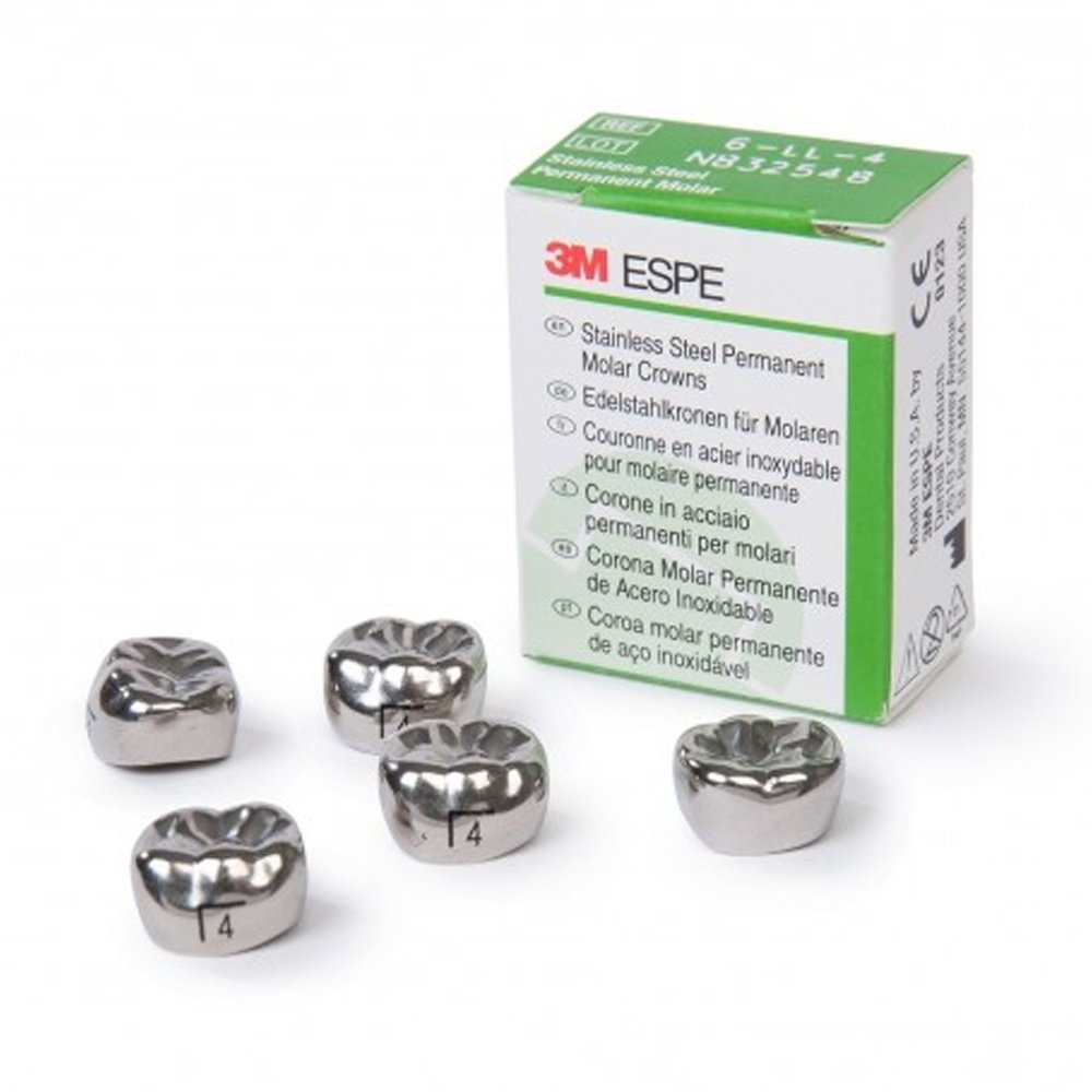 3M Stainless Steel Crown Lower Left D Size 6(Tooth 74) 2 Pack