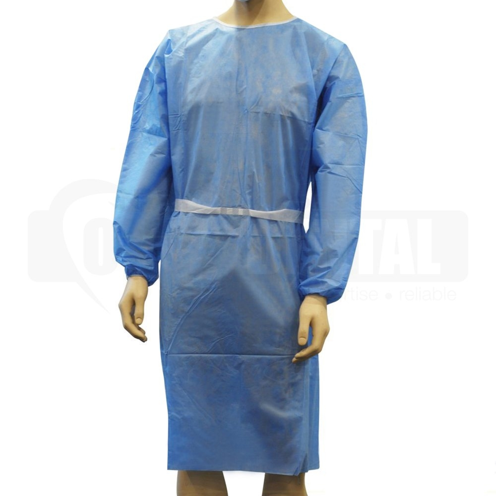 Gown PROTECT Economy Blue Tie (Knit Cuff) pkt10 (10 pkts per carton) - Click for more info