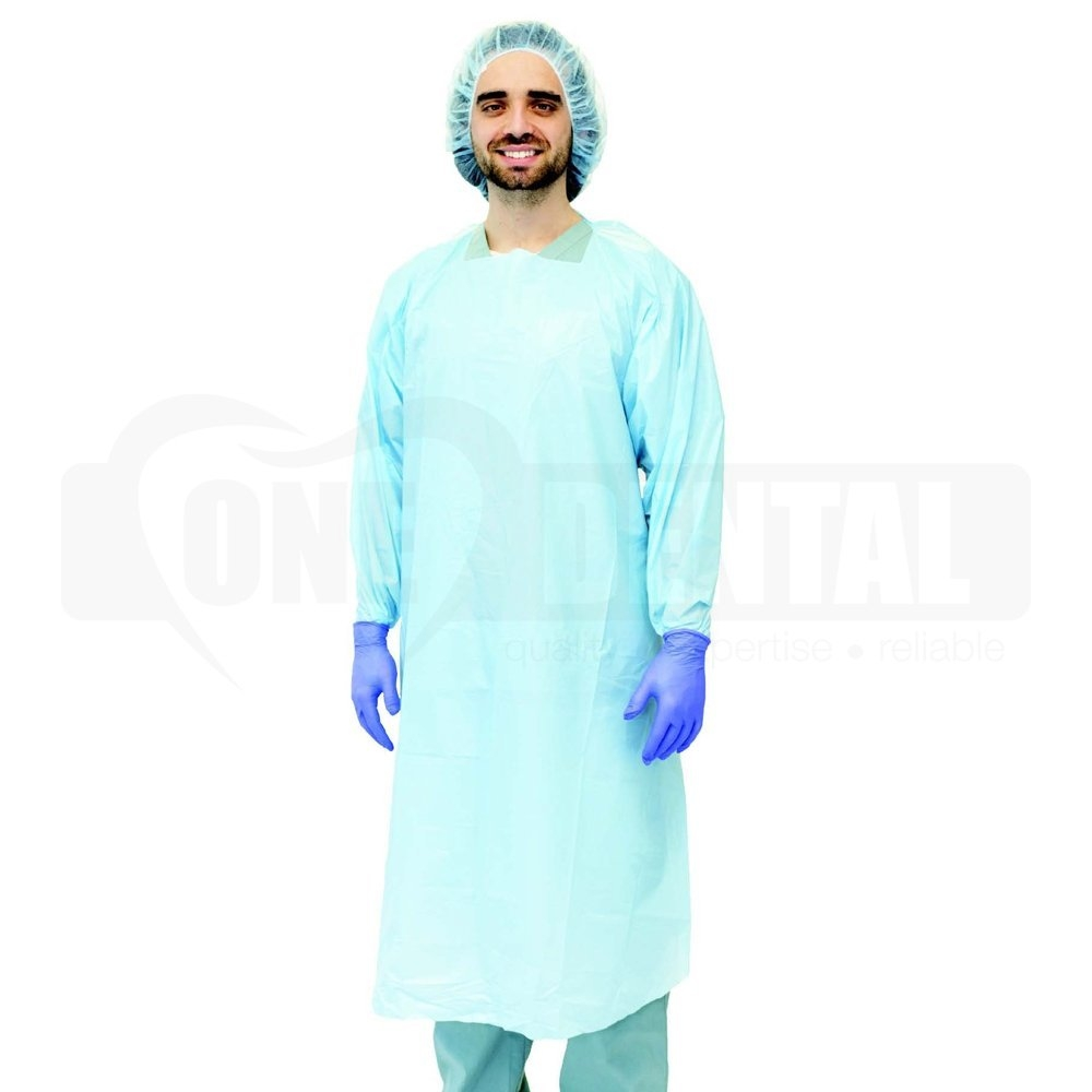 Long Sleeve Disposable Blue Gown Impervious AAMI Level 3 PKT 20 - Click for more info