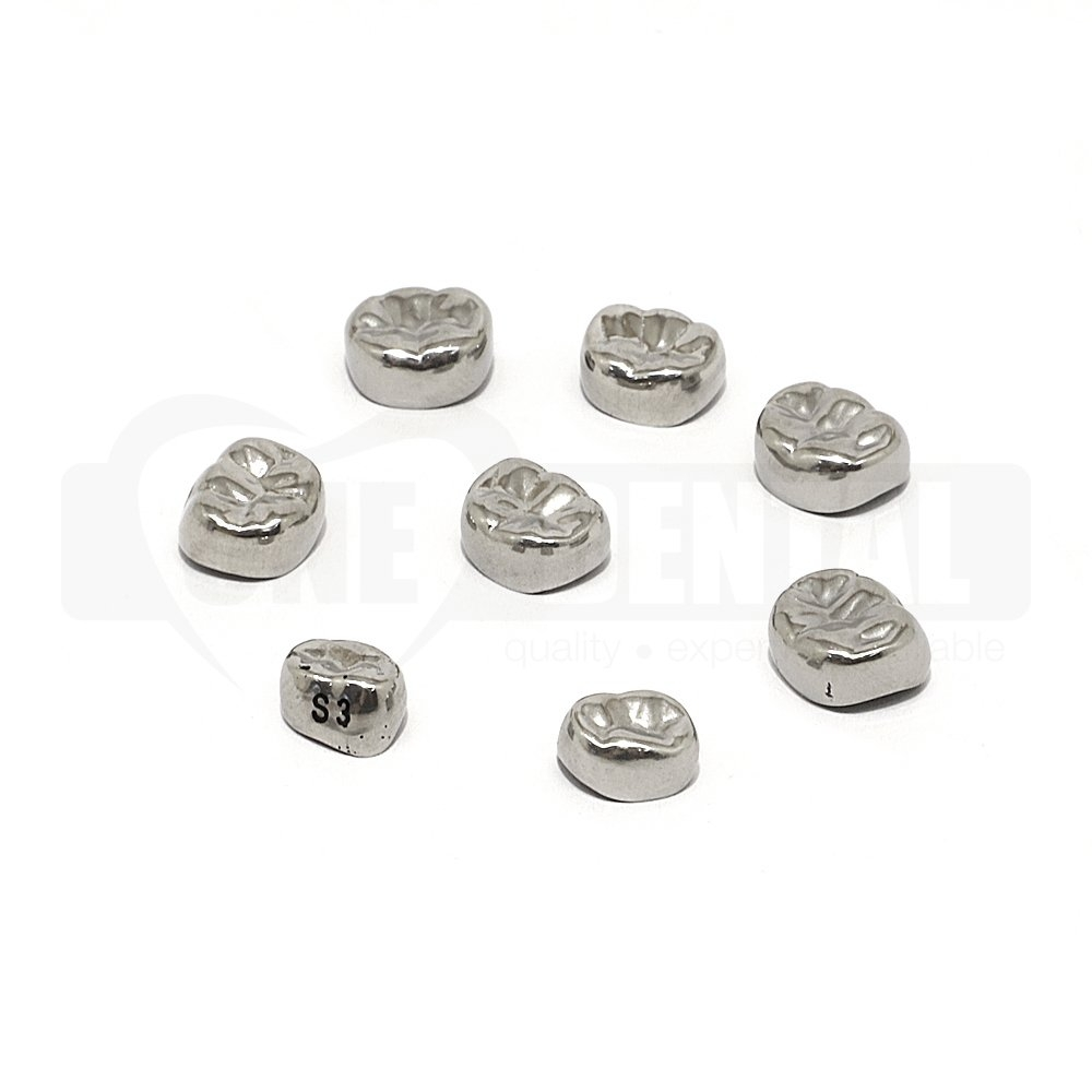 Stainless Steel Crown Paedo Lower Left D (74) Size 3 Pk 5 **SIMULATION USE ONLY*