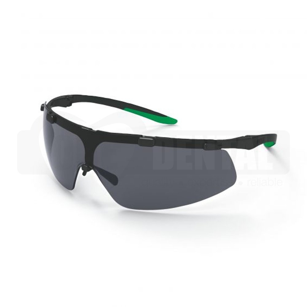 UVEX superfit Black/Green Frame Tint Grey Shade 3 Infradur AF lens coating